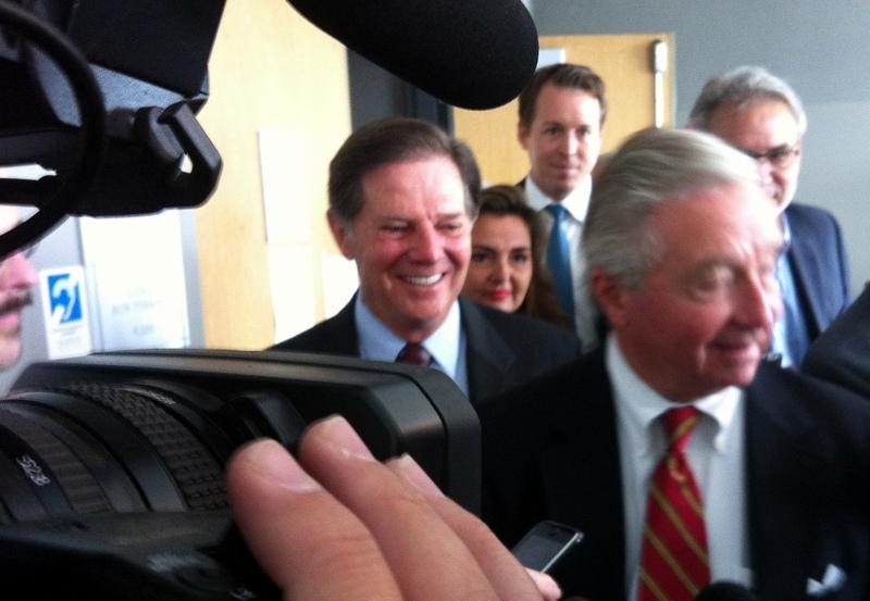 Former House majority leader Tom DeLay (left) and his defense lawyer Dick DeGuerin at the Travis County Criminal Justice Center on November 1, 2010.