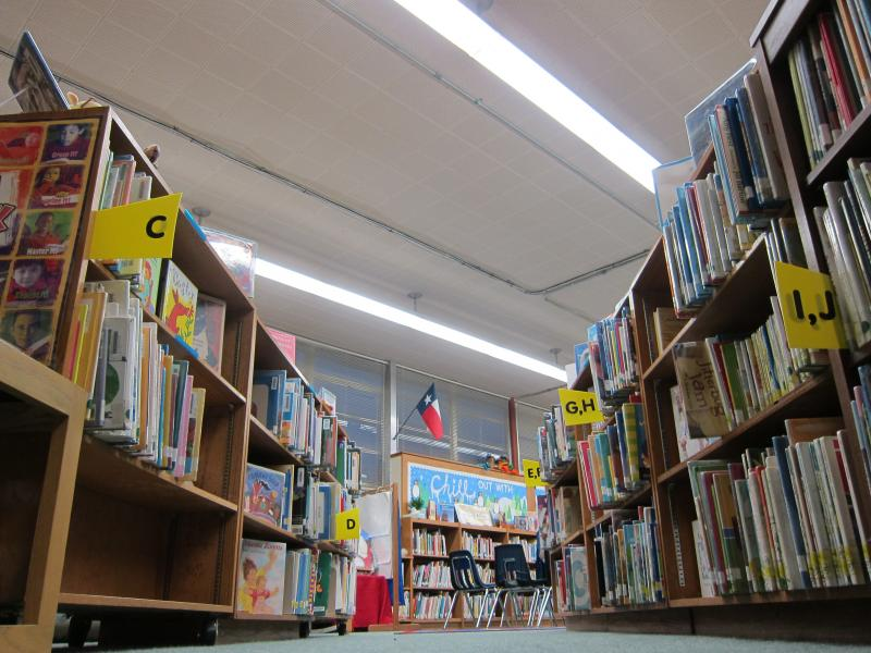 The library at Allan Elementary School in Austin