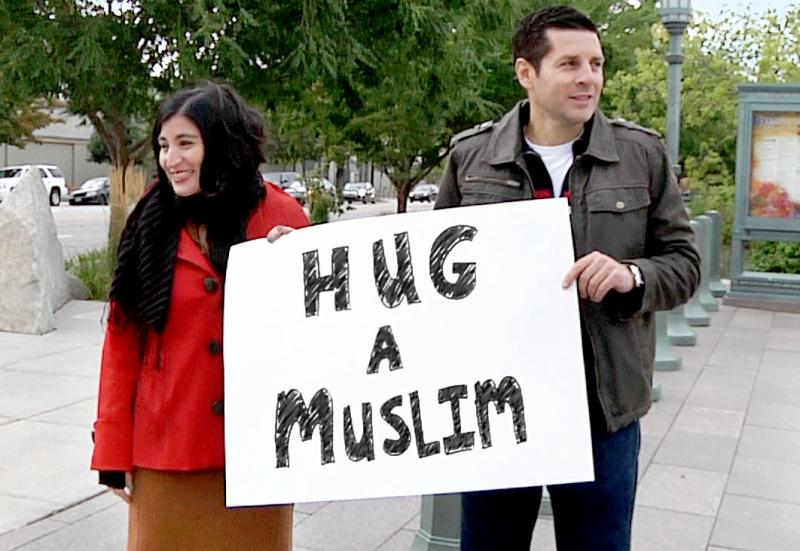 "Looking for love (in all the wrong places): Director Negin Farsad (left) and a friend in a still from ""The Muslims Are Coming,"" premiering at the Austin Film Festival."