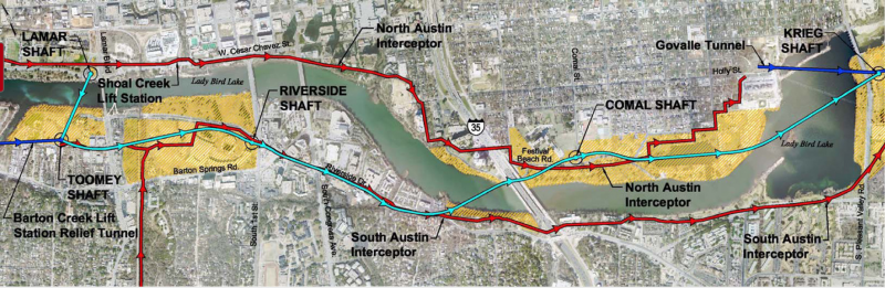 Map of the Downtown Wastewater Tunnel Project