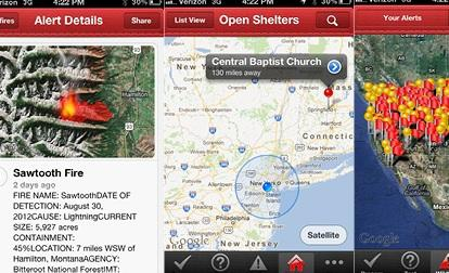 The app provides interactive maps with wildfire information.