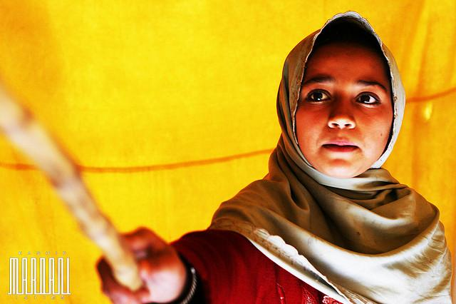 A Pakistani child in a makeshift school in the tribal region of Swat.