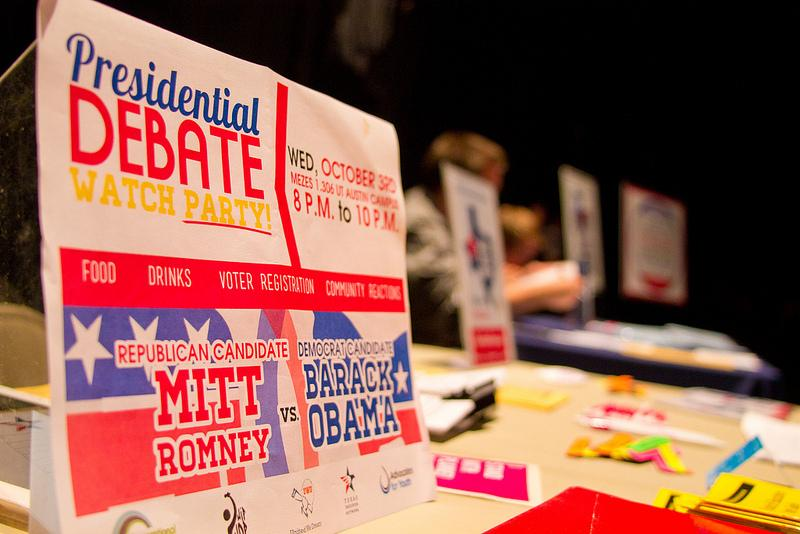 "A voter registration table at Tuesday night's ""Why Bother?"" taping."