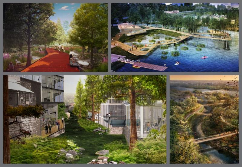 Designs from the four teams vying to remake Waller Creek.