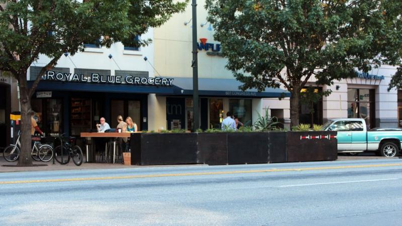 The street patio opened today in front of Royal Blue Grocery on Congress Avenue.
