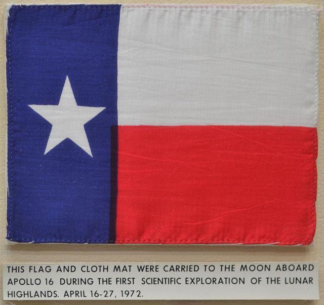 A close-up of flag carried to the moon.