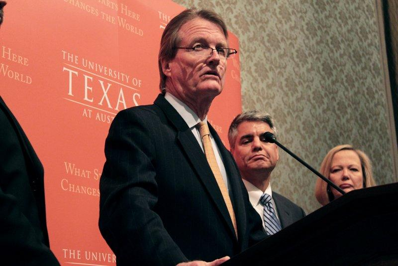 UT President Bill Powers speaking at a news conference today about the passage of Proposition 1