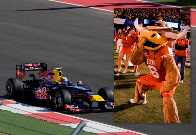 Red Bull, meet Bevo: The calendars for Formula 1 racing and the UT Longhorns overlap next year.
