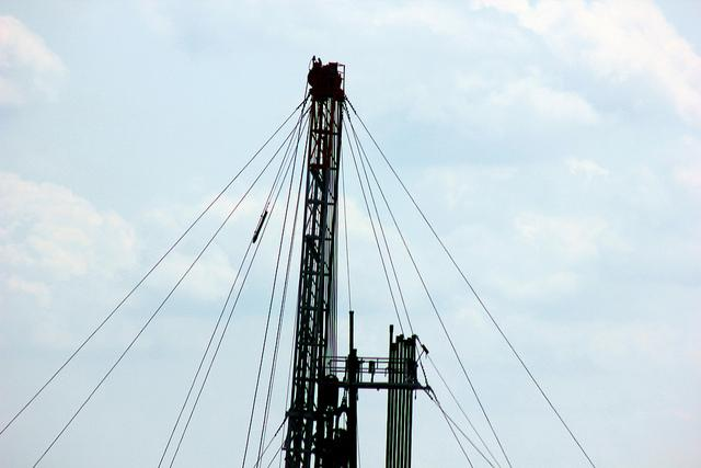 A fracking rig in Pennsylvania's Marcellus Shale. A small earthquake occurred in a North Texas area linked to fracking.