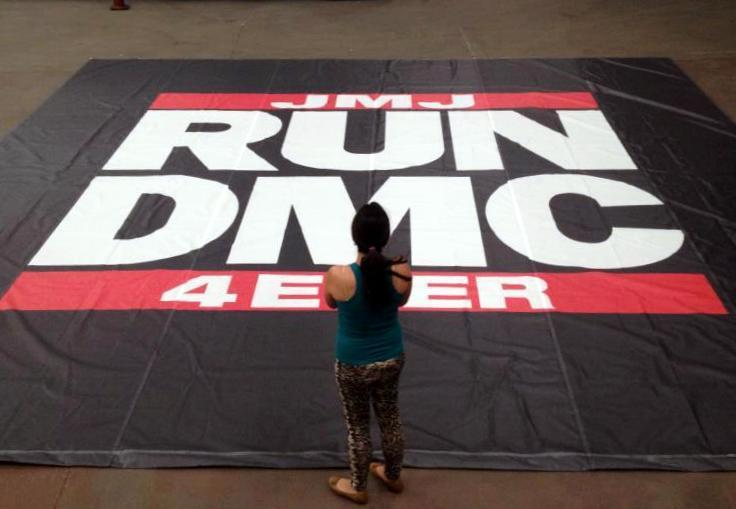 The banner for iconic rap group Run DMC, performing tonight at Fun Fun Fun Fest.