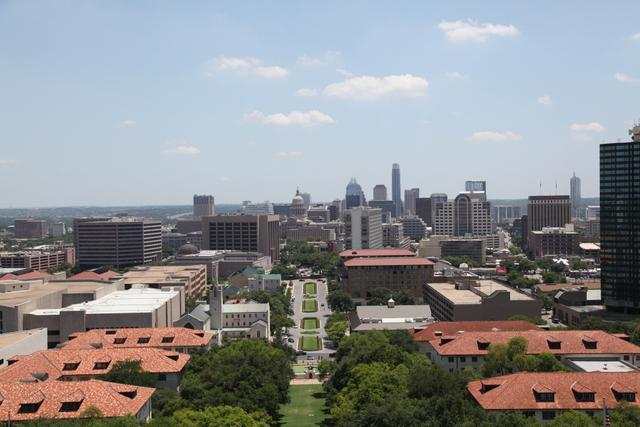 A view towards downtown Austin from the UT Tower.