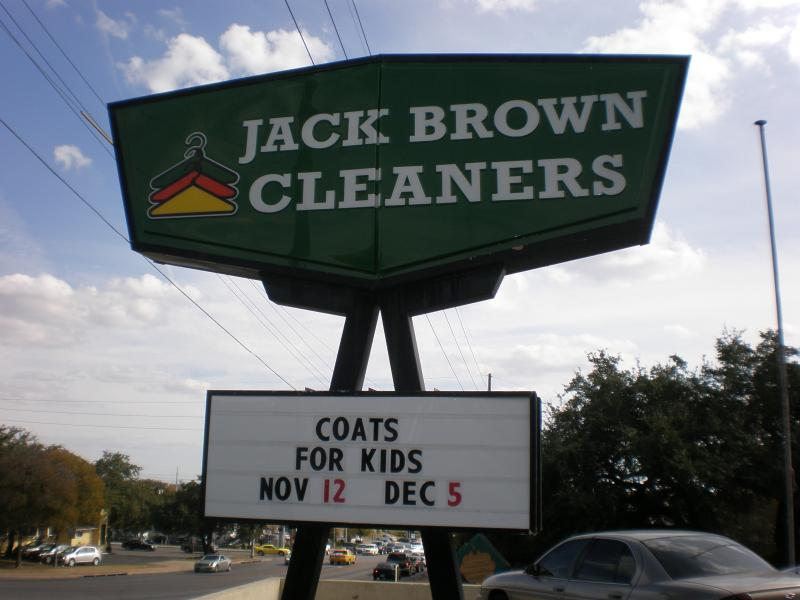Coats can be dropped off at any Jack Brown Cleaners in the Austin area.