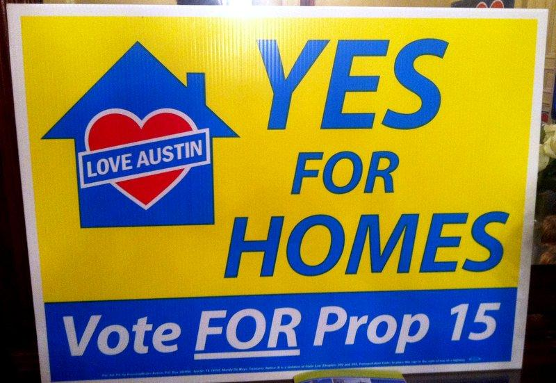 Affordable housing initiative Prop 15 is the only Austin bond proposal headed toward defeat.
