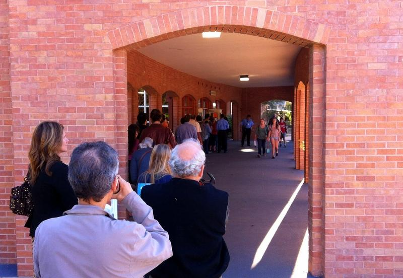 Line to vote at Murchison Middle School this morning. Voters can go to any polling place this election.