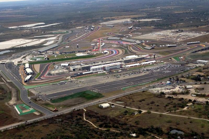An aerial view of the Circuit of the Americas racetrack.