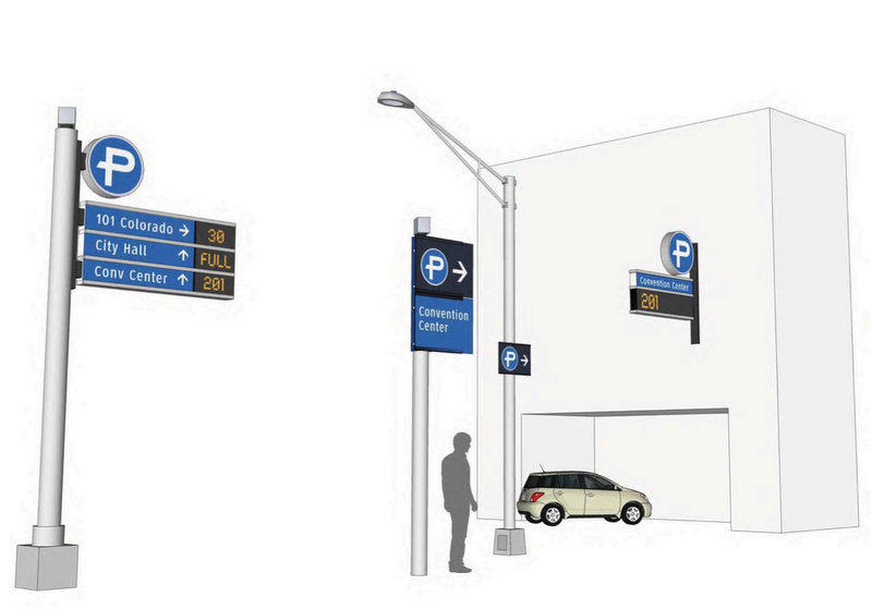 Design plans also include signs displaying parking garage capacity.