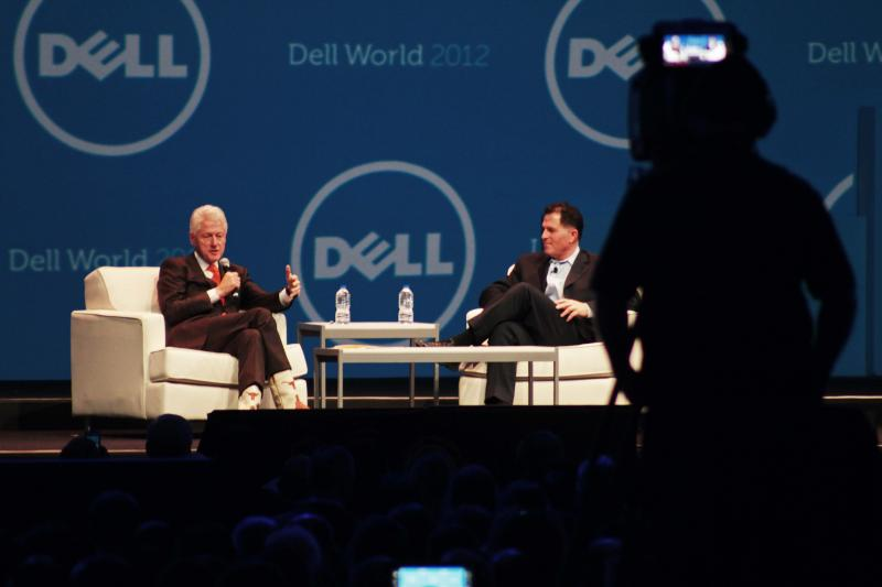 Clinton sat down with Dell founder Michael Dell today also.