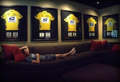 Just layin' around: A tweet from Armstrong featuring his Tour de France jerseys drew the ire of the blogosphere.