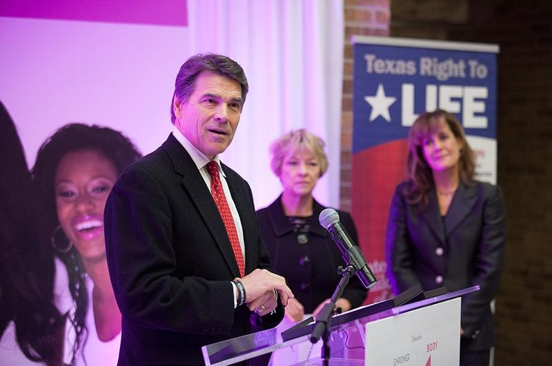 Texas Gov. Rick Perry at a press conference announcing his support for Texas Right to Life's Preborn Pain Bill in Houston, Tuesday Dec. 11, 2012.