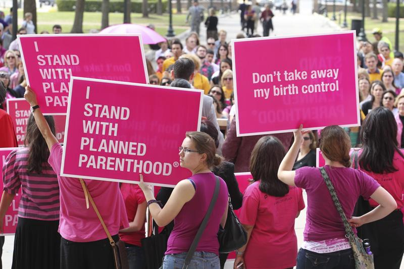 Planned Parenthood supporters rally on the south steps of the Texas Capitol on March 8, 2011.