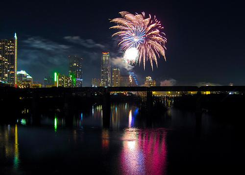 Last year's fireworks show over Lady Bird Lake.