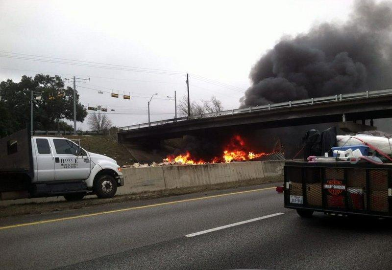 A motorist captured this image of the Slaughter Creek wreck's aftermath.