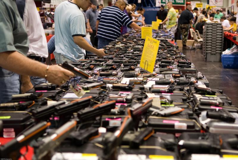 The marketplace at a Houston gun show. Austin City Council members could act to end gun shows at the Travis County Expo Center.