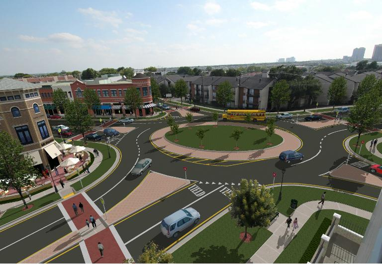 An artist's rendering shows how one Dallas intersection could be revamped for walkability.