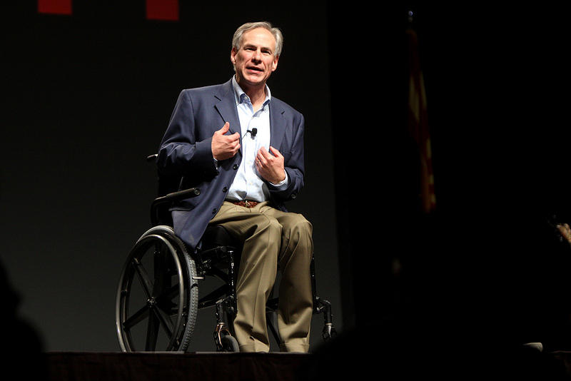 Greg Abbott speaking at a FreedomWorks event last year. The ambitious AG is making waves with an ad buy in the Big Apple.
