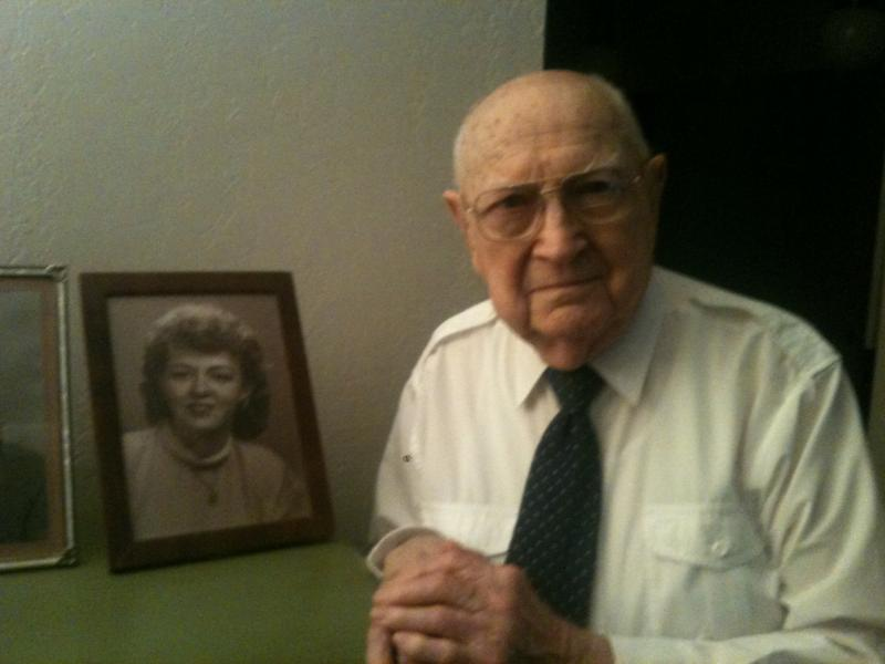 99 year-old Gus Herzik at his home in Austin.