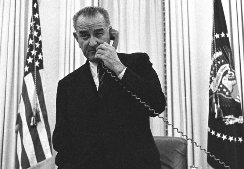 LBJ in the Oval office shortly after assuming office in 1963.