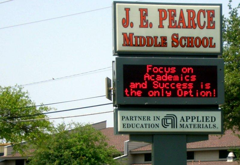 Pearce Middle School would transition into a single-sex school, under an option considered by the AISD school board.