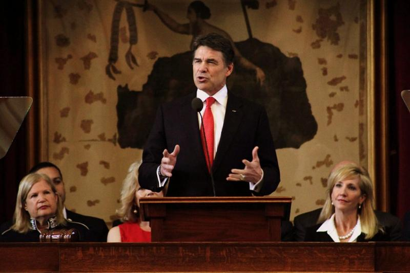 Gov. Rick Perry delivering the 2013 State of the State in January. Perry announed plans for his political future today.