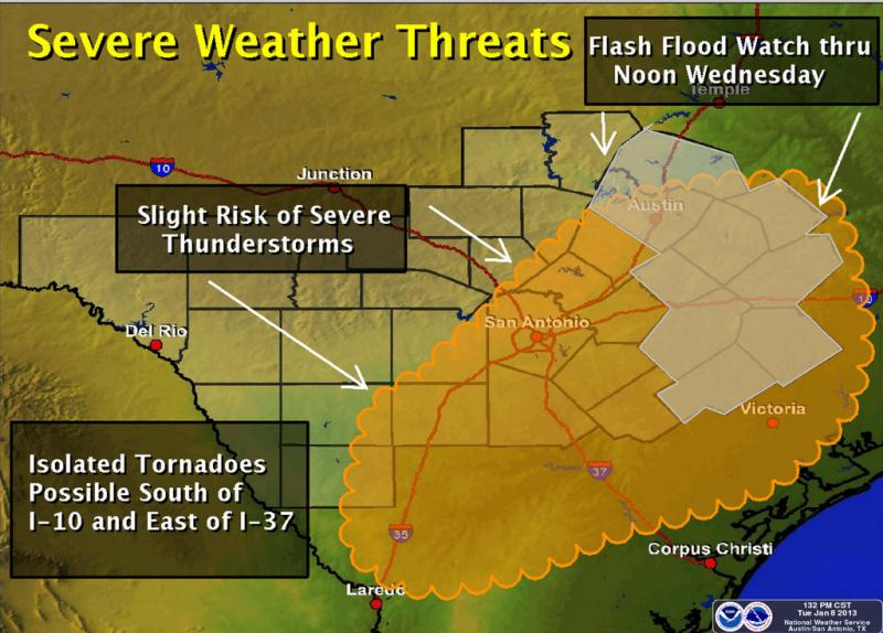 Austin and Travis County may bear the brunt of the region's storm system.