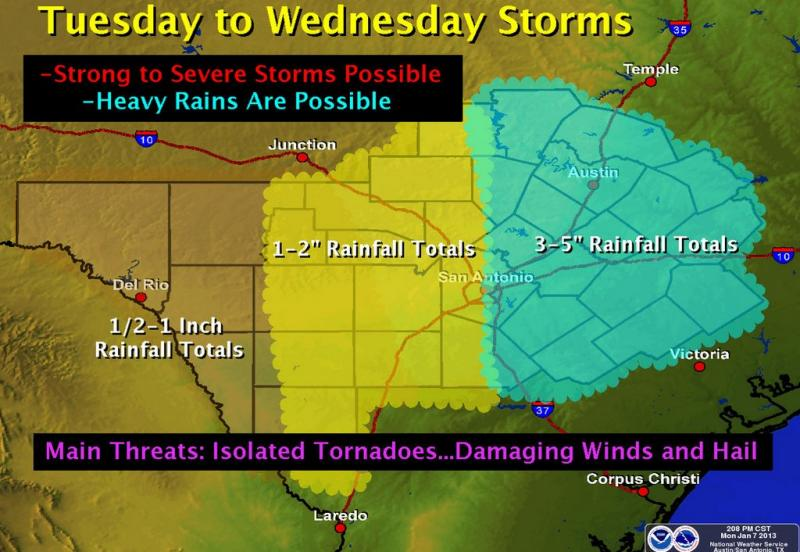 Austin may see the most rain in a half a year beginning tonight and through Wednesday.