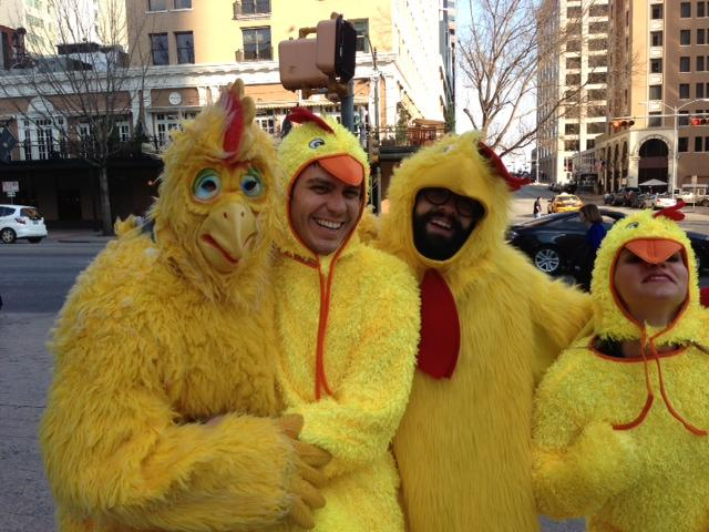 Chickens took the streets of Downtown Austin to announce this year's lineup.