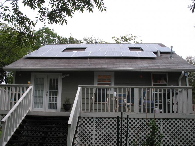 A solar panel installation on a home in Austin. Austin Energy had a record year for rebates in 2012.