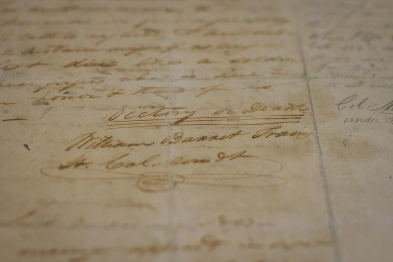 "Travis signed his famous letter with ""Victory or Death"" in 1836"
