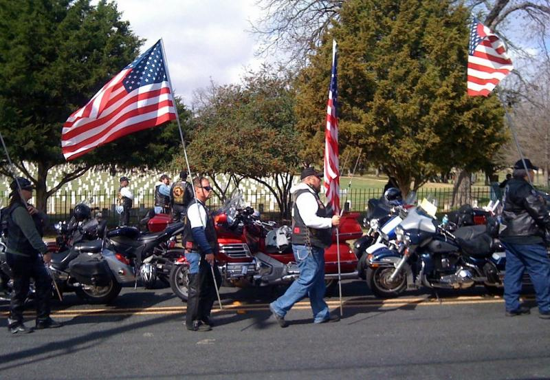 Supporters outside the Texas State Cemetery waited for Kyle's motorcade to arrive.