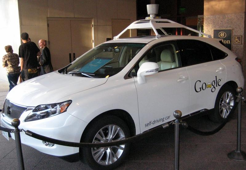 Google's driverless car, parked outside of the Hilton Austin.