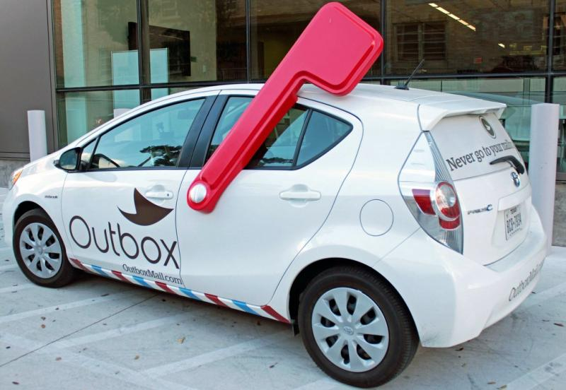 "With Outbox, a fleet of vehicles ""undeliver"" subscribers' mail."