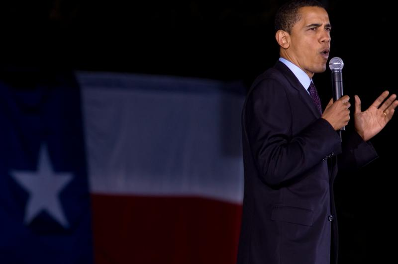 U.S. President Barack Obama speaking to a crowd in Austin in 2010.
