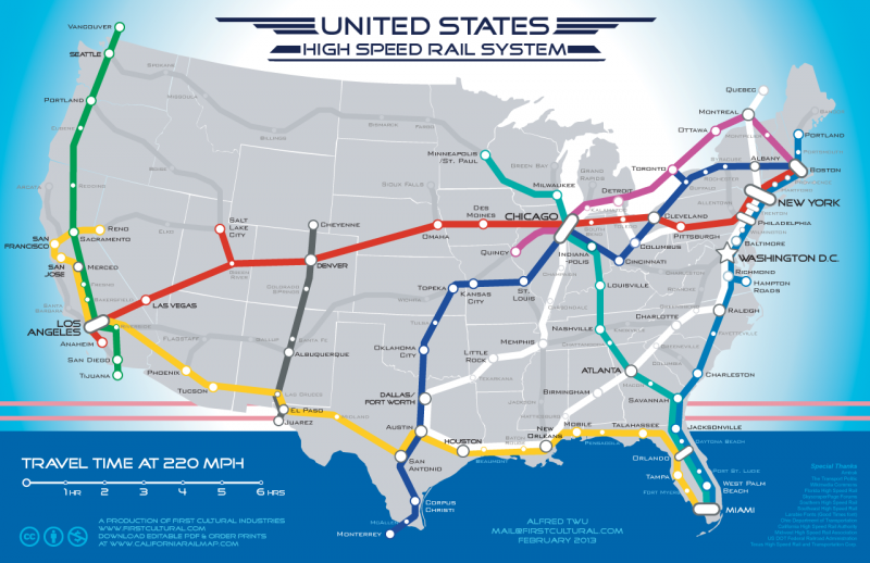 This map of a high-speed rail connected U.S. features Austin as a major transit hub.