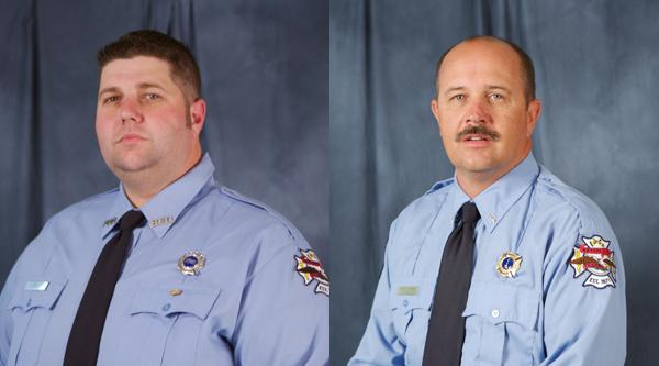 Eric Wallace, left, and Greg Pickard, right, died battling a fire in Bryan.