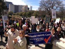 NAMI and other mental health groups joined lawmakers and advocates at the capitol to rally for increased funding