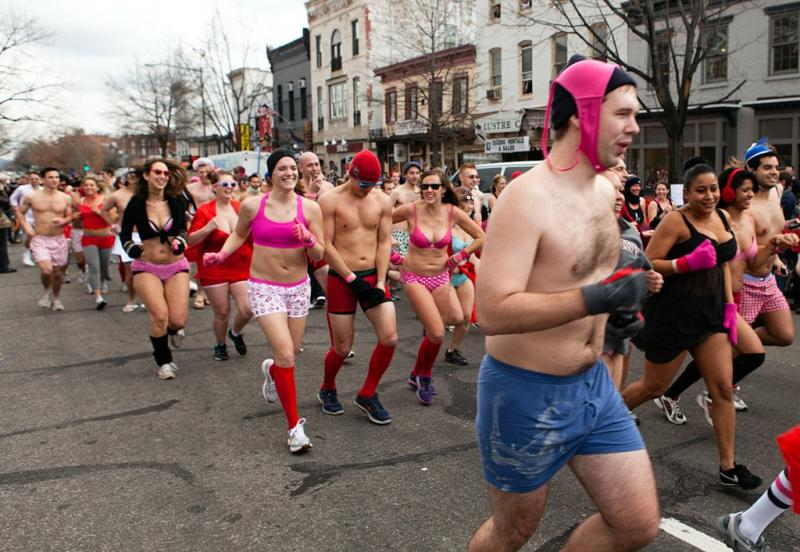 Runners in Washington D.C.'s 2012 Cupid's Undie Run. Three different events are closing closing roads around Austin this weekend.