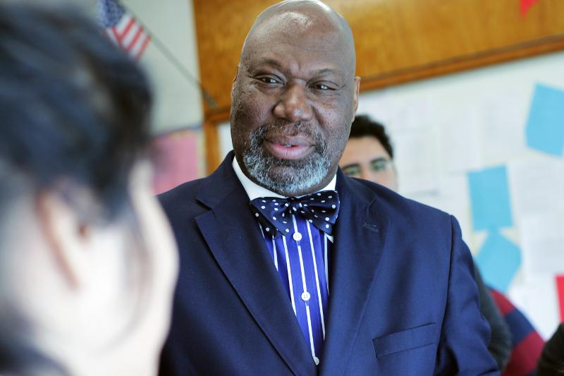 Texas Education Commissioner Michael Williams visited with students at Eastside Memorial High School.