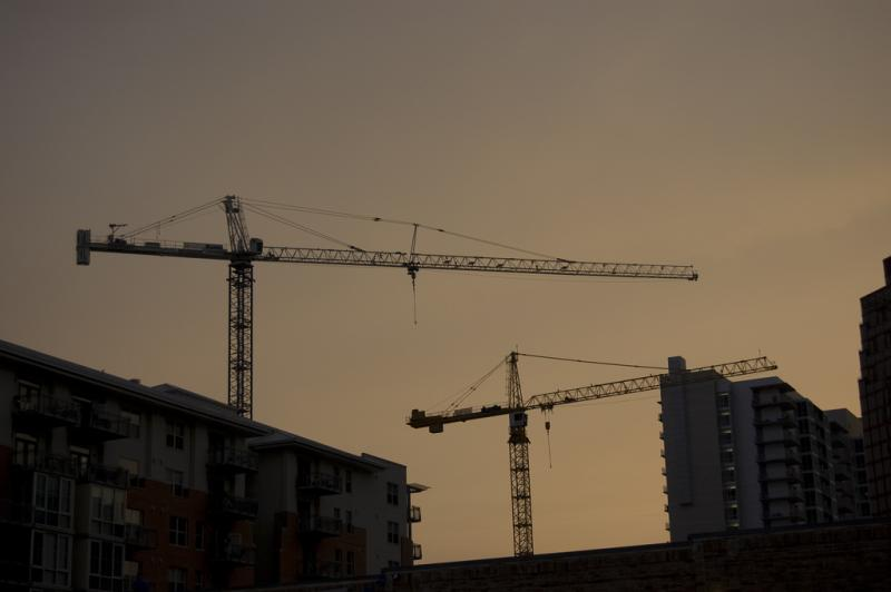 Construction cranes in downtown Austin. While the City Council voted to repeal the Project Duration Ordianance, the city will work quickly on a replacement.