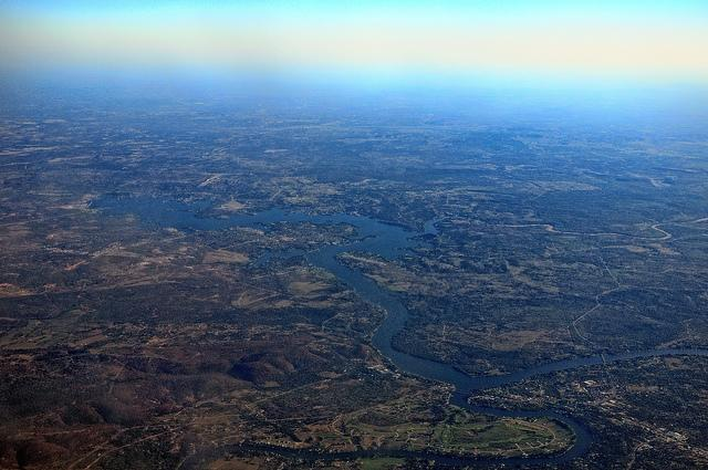 An aerial view of the Highland Lakes