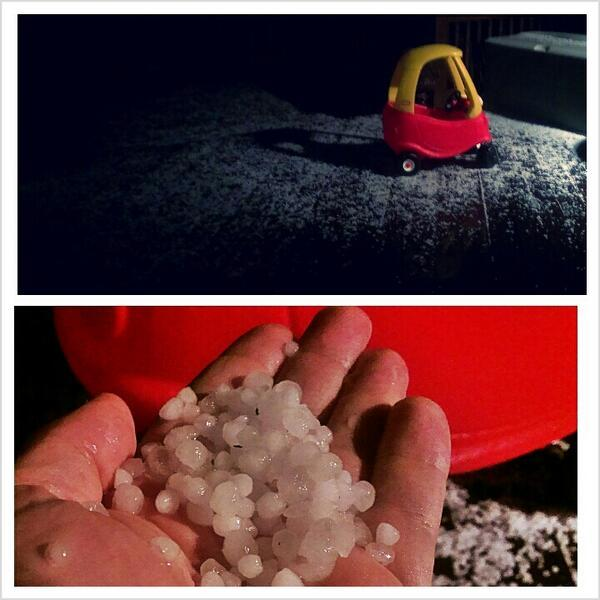 Hail pictures captured by twitter user Justin Girdler (@just_g).